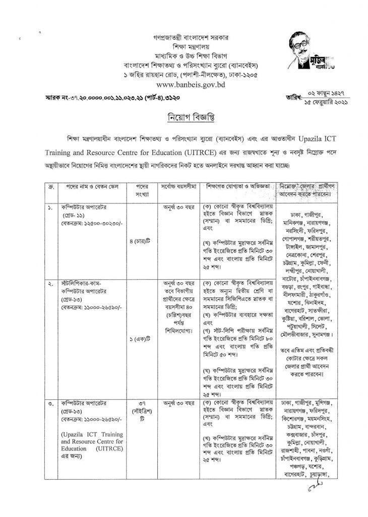 BANBEIS Job Circular 2021 বাংলাদেশ শিক্ষাতথ্য ও পরিসংখ্যান ব্যুরো ব্যানবেইস নিয়োগ বিজ্ঞপ্তি ২০২১ 1