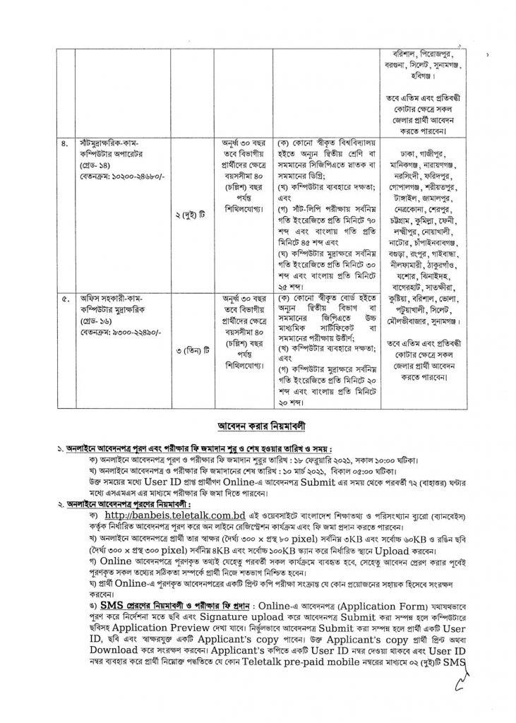 BANBEIS Job Circular 2021 বাংলাদেশ শিক্ষাতথ্য ও পরিসংখ্যান ব্যুরো ব্যানবেইস নিয়োগ বিজ্ঞপ্তি ২০২১ 2