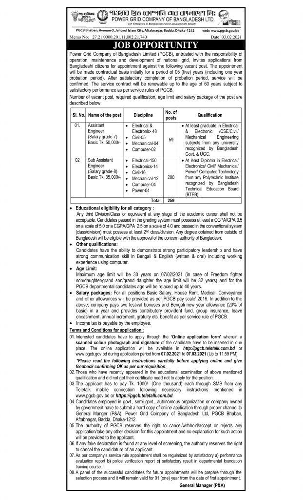 Power Grid Company of Bangladesh Ltd. pgcb Job Circular 2021