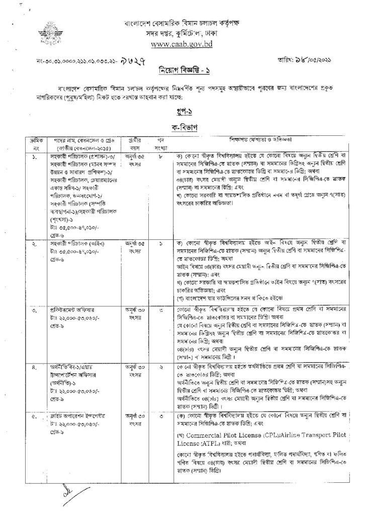 Civil Aviation Authority of Bangladesh CAAB Job Circular 2021 bdjobspublisher.com Circular 1 page 001