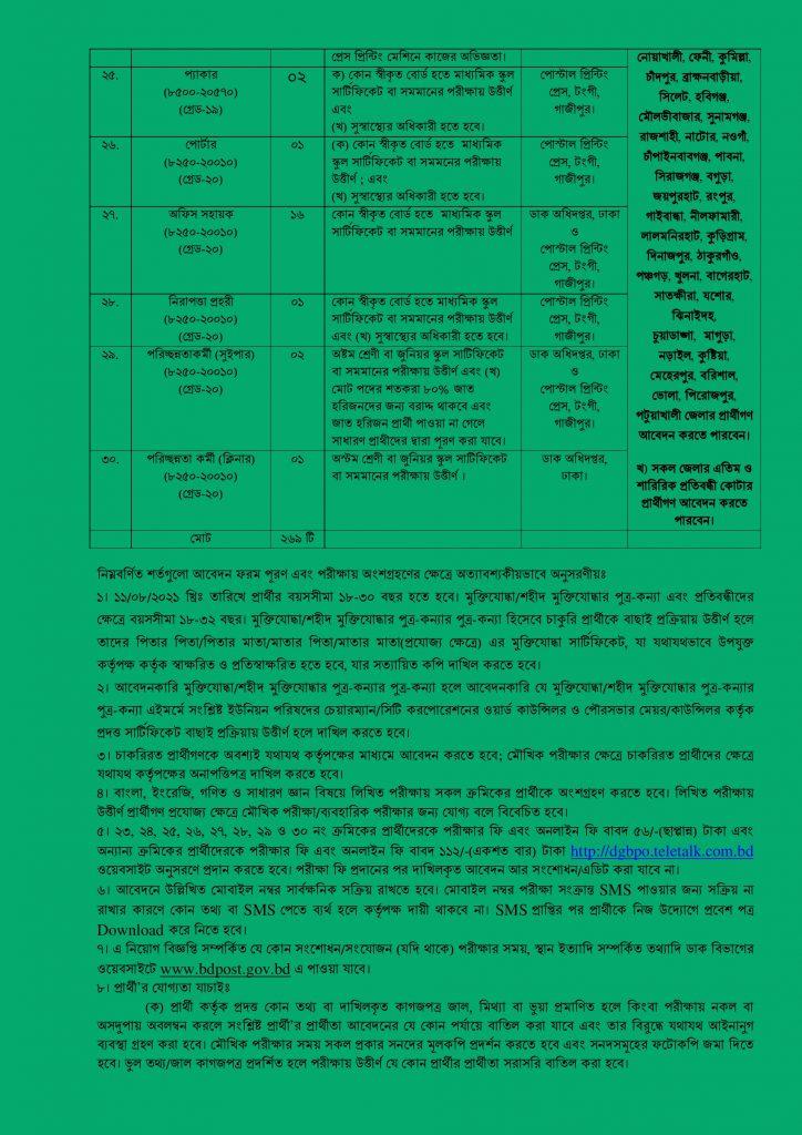 Bangladesh Post office Job Circular 2021, DGBPO Job Circular 2021, dgbpo.teletalk.com.bd-4