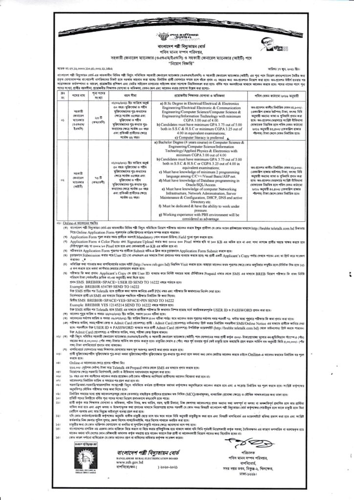Bangladesh Rural Electrification Board (BREBHR) Job Circular 2021, bdjobspublisher.com