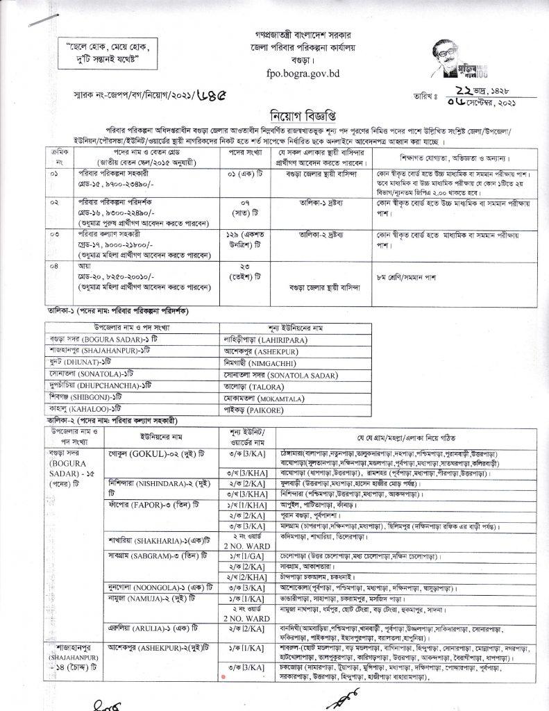 Bogura Family Planning Job Circular 2021, Bogura District Family Planning Job Circular 2021, বগুড়া পরিবার পরিকল্পনা জব সার্কুলার ২০২১, bdjobspublisher.com,-1