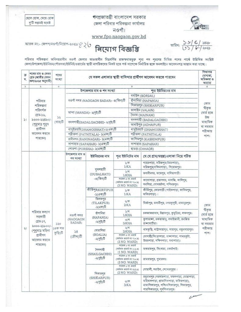 Naogaon Family Planning Office Job Circular 2021,District Family Planning Office Naogaon Job Circular 2021,bdjobspublisher.com-1