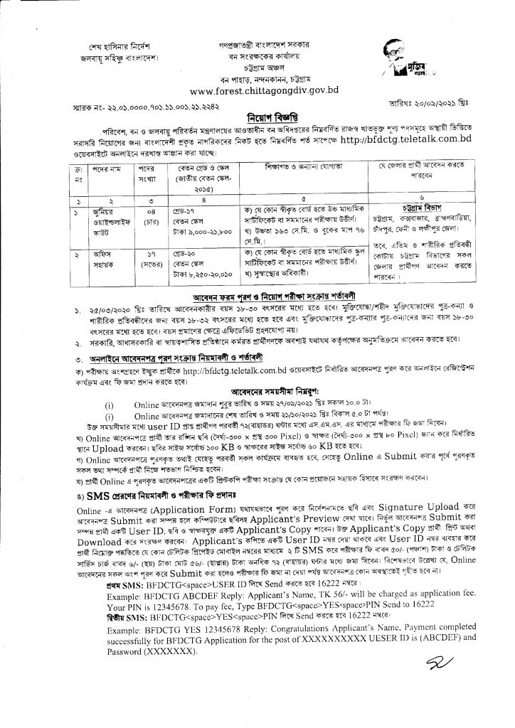 Office of the Conservator of Forests Job circular 2021, bdjobspublisher.com